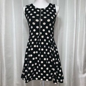 Divided Black and White Polkadot Dress Medium